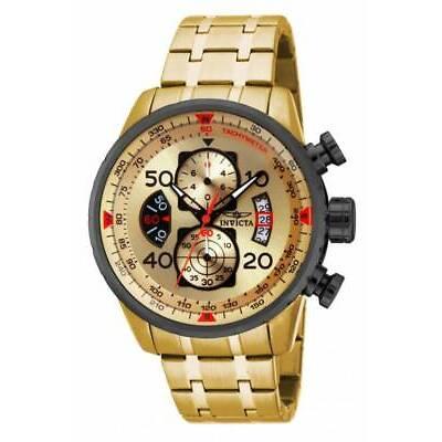 Invicta 17205 Mens Aviator Chrono Gold Tone Dial Gold Tone Steel Bracelet Watch