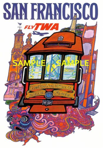 "TWA Airline 8.5/"" X 11/""  Travel Poster SAN FRANCISCO"