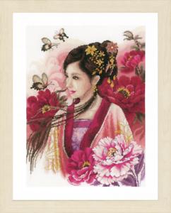 PN-0170199 Evenweave Lanarte-contati Punto Croce Kit-Donna Asiatica In Rosa