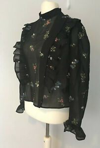 Gorgeous M/&S COLLECTION Pink Floral Blouse Round Neck Top NON IRON Bell Sleeve
