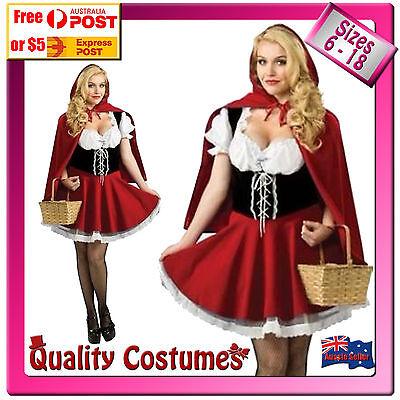 Womens Little Red Riding Hood Oktoberfest Fairy Tale Costume Sizes 6 - 18