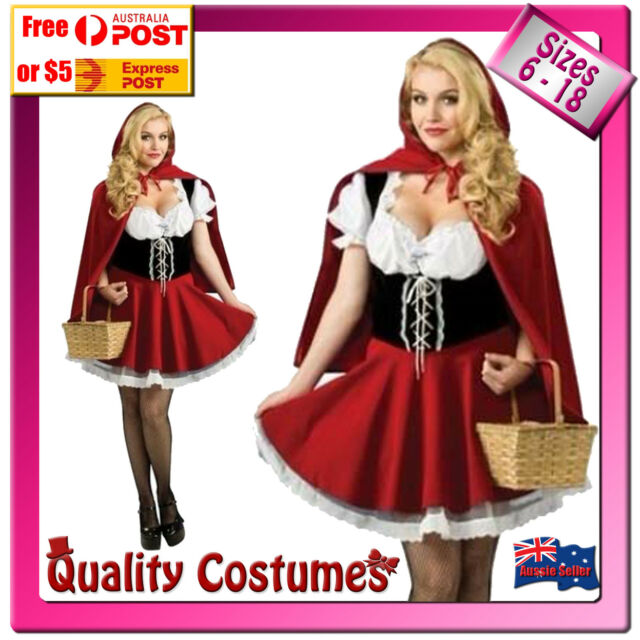 Womens Little Red Riding Hood Oktoberfest Fairy Tale Costume Sizes 6 - 18