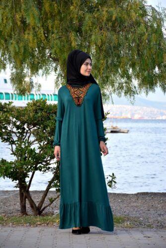 Ohne Innenfutter H-8212 Hijab Kleid-Abaya-Tesettür Elbise