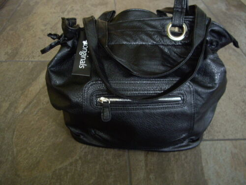 Originals Black Textured Faux Leather Slouch Bucket Zipped Shoulder Hand Bag