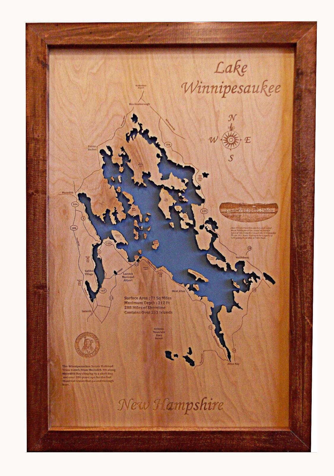 Wooden 2D Cut, Engraved LAKE WINNIPESAUKEE,NH Map Framed Framed Framed WALL ART laser engraved a67039
