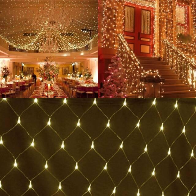 6x4M LED Net Lights Garden Mesh Curtain Christmas Tree Street Wedding Party UK
