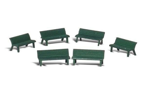 HO Scale Park Benches (6 pcs) - Woodland Scenics Scenic Accents #A1879