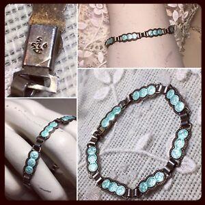 Antique-Victorian-Aqua-Blue-Guilloche-Enamel-Sterling-Silver-Petite-Bracelet
