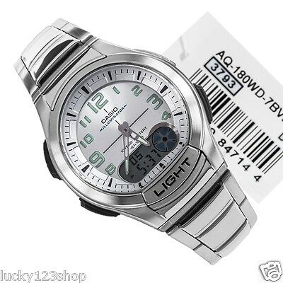 AQ-180WD-7B Casio Analog Digital Men's Watch 10 Year Battery Stainless Brand New