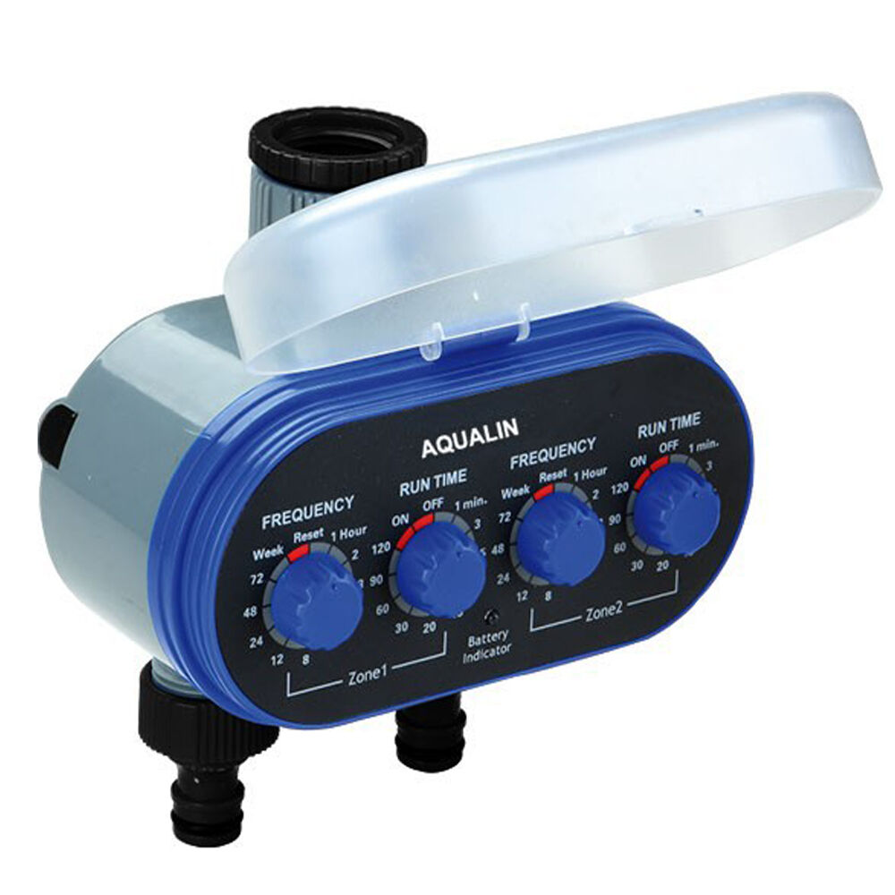 Two Outlet Ball Valve Electronic Hose Water Tap Timer Garden Irrigation System