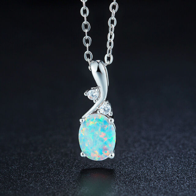 Oval natural australian opal pendant oval shape necklace white gold oval natural australian opal pendant oval shape necklace white gold plated s925 aloadofball Image collections