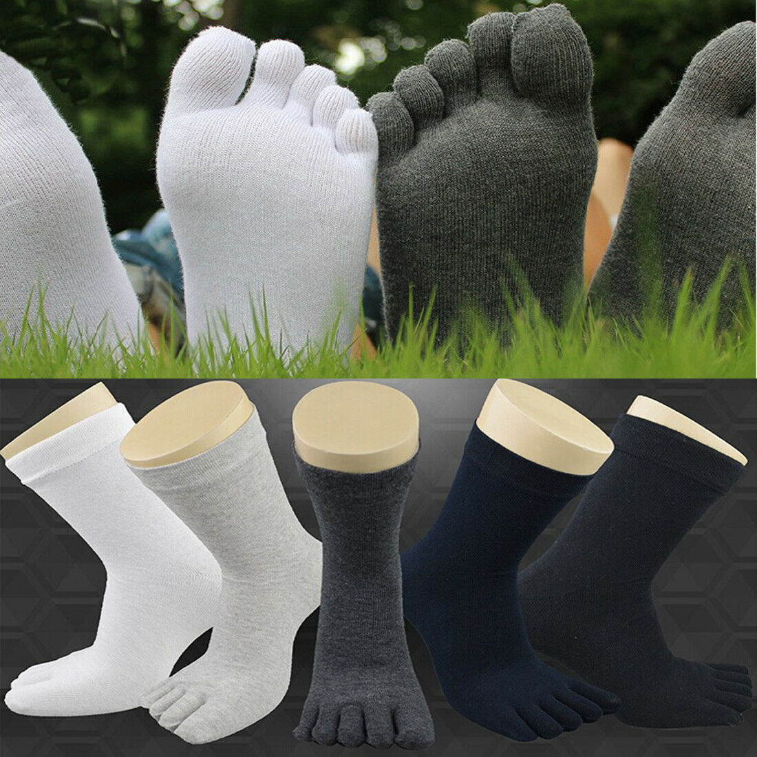 Mode Fünf Finger Socken Herren Damen Weich Reine Baumwolle SPORTS Zehensocken