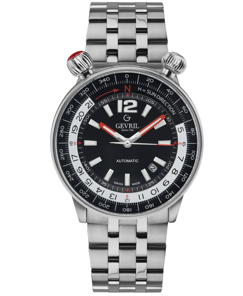Gevril Men's 48561 Wallabout Swiss Automatic Black Dial Stainless Steel Watch | Ebay