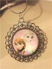 Lacy Picot Rimmed Silvertn Pink Violet Frozen Movie Princess Pendant Necklace ++