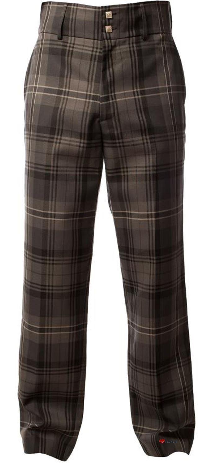 Traditional Scottish Men's Trouser Trews In Hamilton Grey Tartan 32