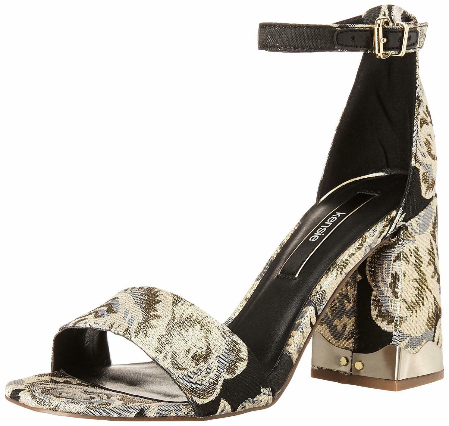 Kensie -Women's Sahar Heeled Sandals  , Size   8 M  , color  Black & gold