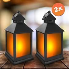 2er Set LED Laternen mit Flammenspiel Deko Windlicht Flackereffekt Tischleuchte