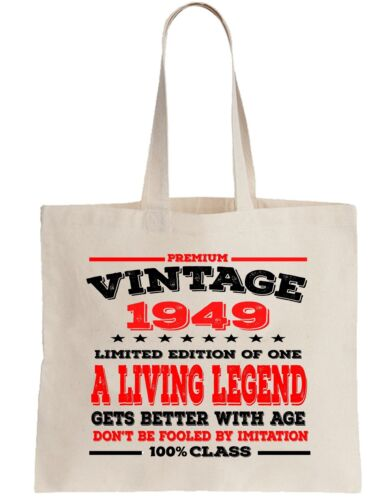 69th Birthday Gift Cotton Tote Shopper Shopping Bag year can be amended 1949