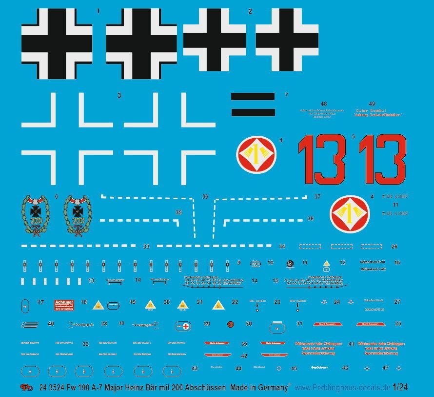 Peddinghaus-decals 1 24 3524 Fw 190 A-7 Major Heinz Bear with 200 Aerial
