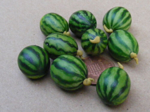 1:12 Scale 2 Large Water Melons Tumdee Dolls House Miniature Fruit Kitchen