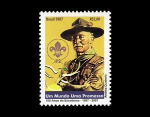 Baden-Powell-100-Years-of-Scouting-Brazil-Michel-3489-Yvert-2981-RHM-C-2689
