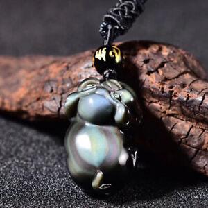 Bead Chain Natural rainbow obsidian eye carving Buddha pendant