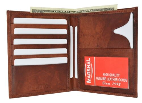 Genuine Leather Large Hipster Bifold Credit Card Id Men/'s Wallet