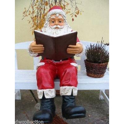 weihnachtsmann mit buch sitzend fast lebensgro deko figur. Black Bedroom Furniture Sets. Home Design Ideas