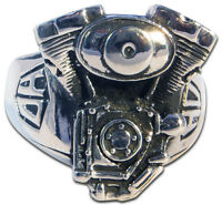 Biker Ring, Sterling Silver, 925, V2, Skull, Rock N Roll, Mens, Ring
