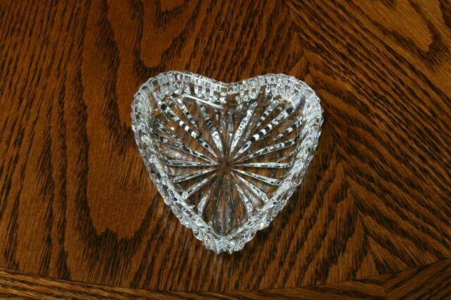 Vintage-Trinket Dish-Waterford-Crystal-Glass-Clear-Heart-Starburst-Ireland-Stamped-Home Decor-Bedroom Decor