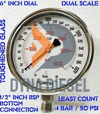 150mm Dial High Pressure Gauge Dual Scale 400 Bar 6000 Psi 12 Bsp Connection