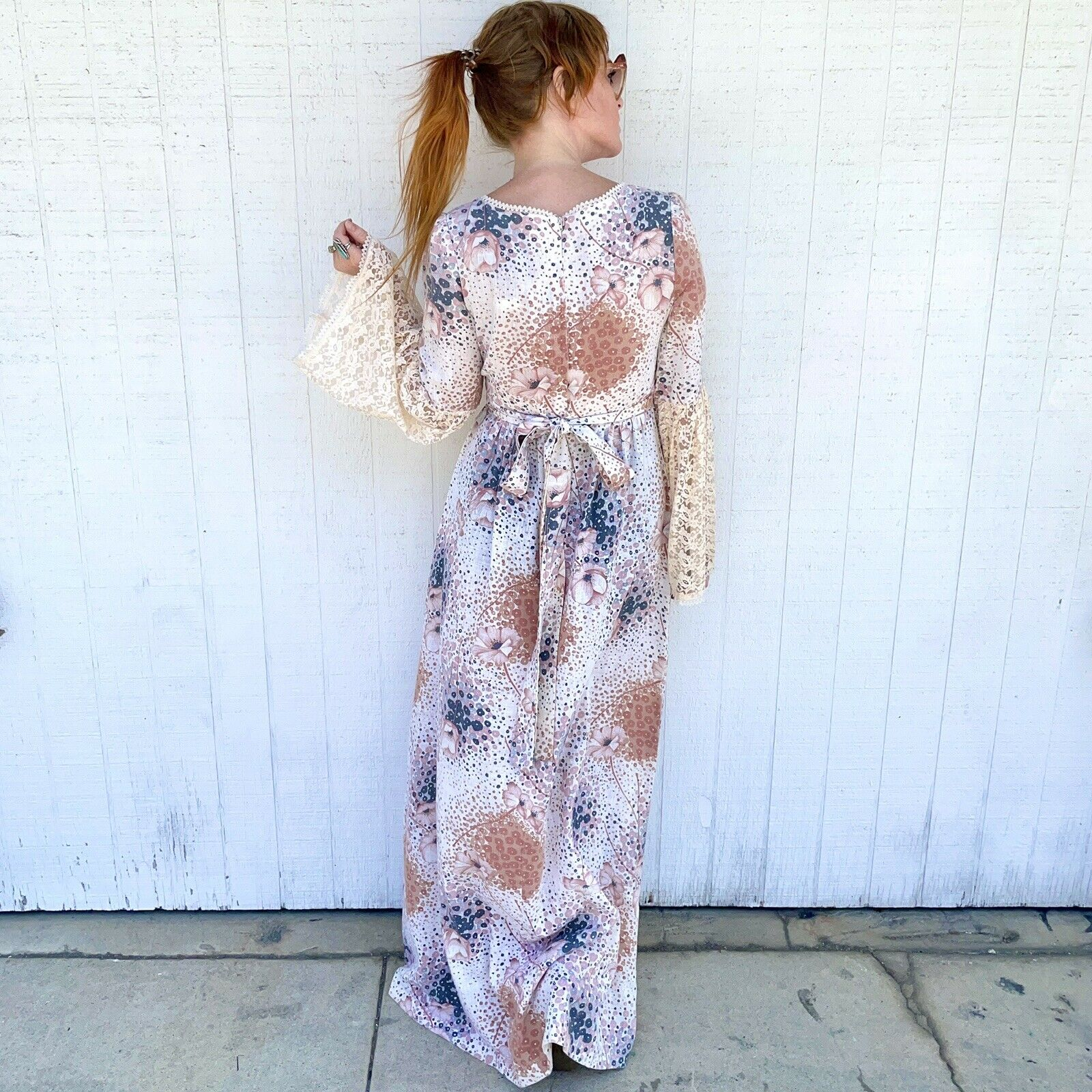 Vintage 70s Floral Maxi Dress Lace Sleeves Fairyc… - image 8