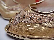 Perla Damen pumps Wedges Netz Sandalen Gr.36 UK 3 Leder Gold TRUE VINTAGE