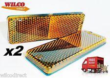 2x Self-Adhesive Amber Orange Rectangular Trailer Reflectors 55x27mm Reflector