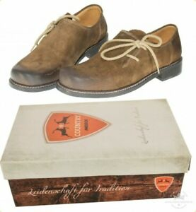 Trachtenschuhe-Haferlschuhe-100-Leder-Schuhe-braun-antik-gespeckt-MADDOX-Gr-38