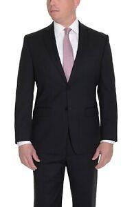 Mens-Calvin-Klein-Black-Tonal-Striped-Slim-Fit-Two-Button-100-Wool-Suit-48R-43W