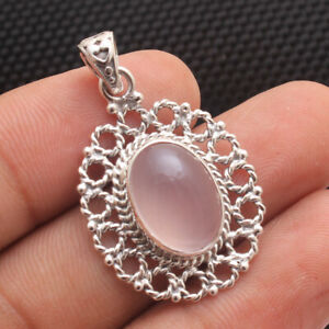 Rose-Quartz-Gemstone-Solid-925-Sterling-Silver-Jewelry-Women-Pendant-1-3-034