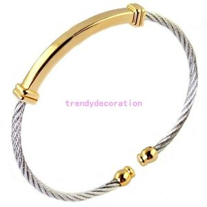 316l Stainless Steel Silver Gold Twisted Cable Women Men S Cuff