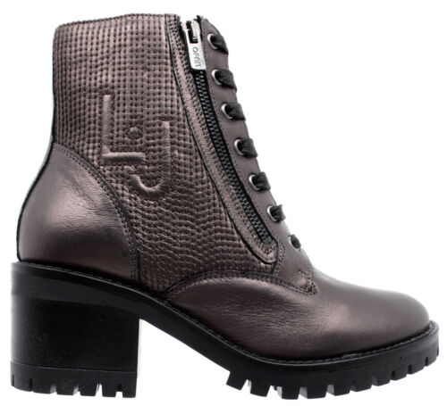 LIU JO Women/'s Ankle Boot Shoes Tina 01 Lace Up Booty Foiled Calf Leather Ebony