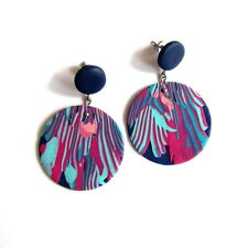 Large Abstract Earrings Art Jewelry Big Blue Purple Stud Retro Round Earrings