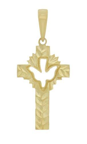 "14k Yellow Gold Solid Religious Dove Cross Charm Pendant 1.3/"" 1.5g"