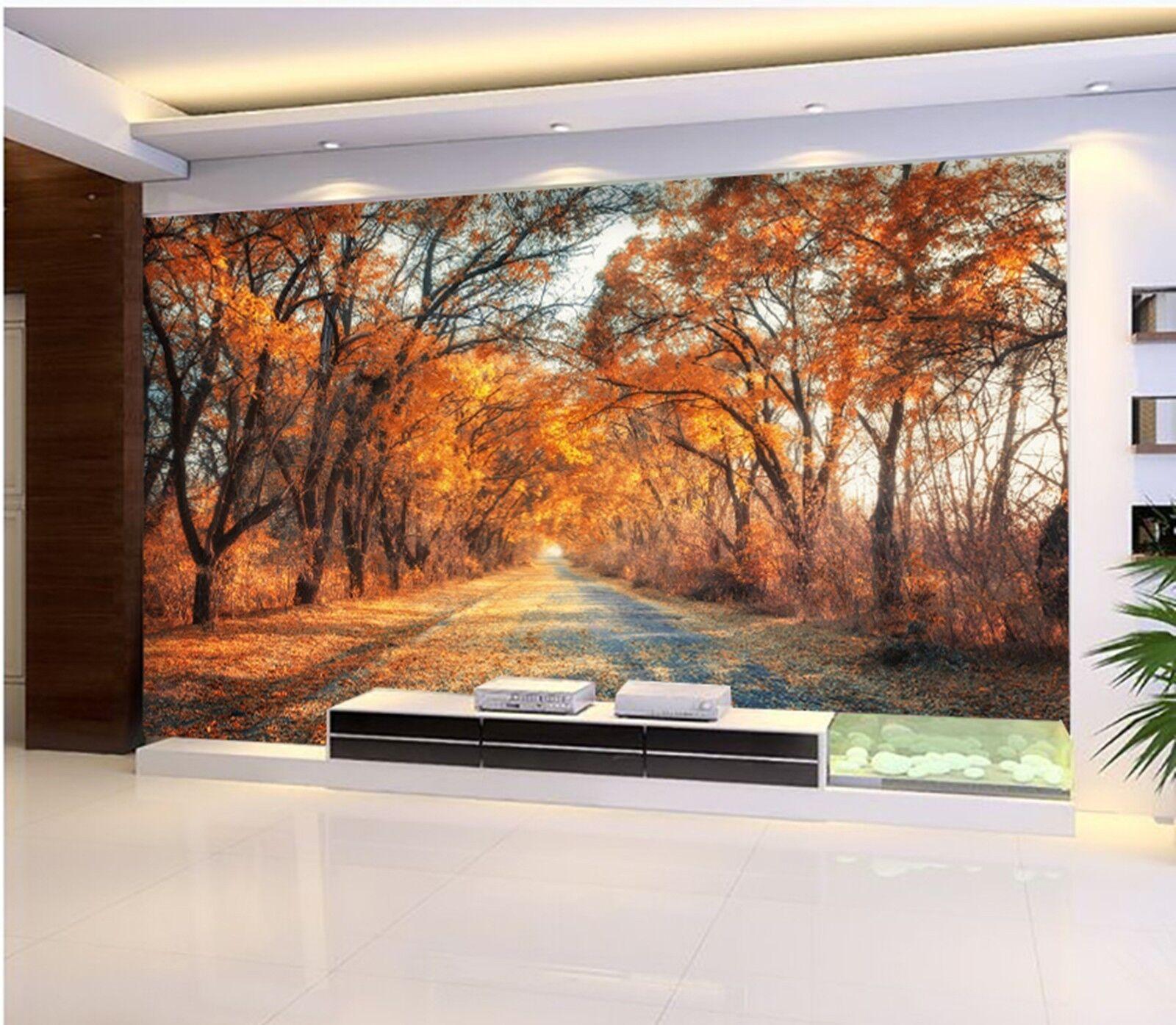 3D Herbst Wälder Gehweg 933 Tapete Wandgemälde Tapeten Bild Familie DE Lemon