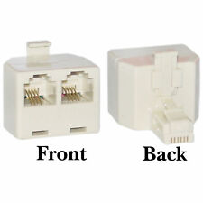 1x RJ11 2 Way Telephone Line Socket Splitter Adaptor, Male to 2x Female Doubler