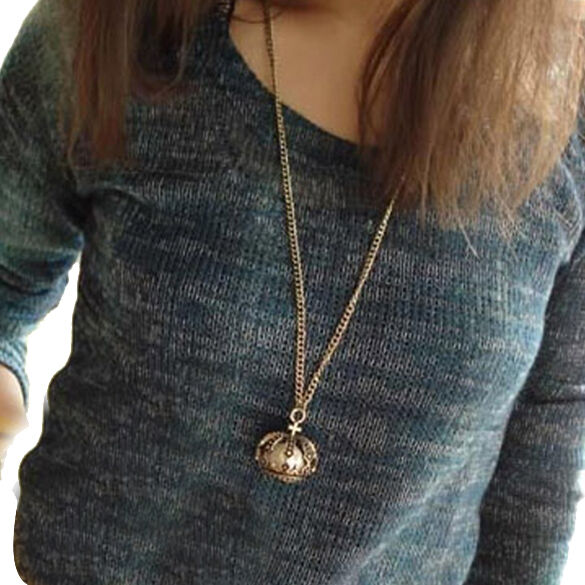 Hot Antique Bronze Crown Pearl Pendant Charming Long Chain Necklace