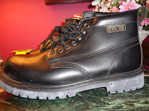 STEEL TOE black leather ankle work boots oil resistant BY HUNKERS 14M NEW no box
