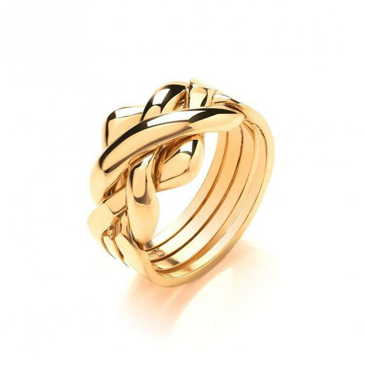 9ct Yellow Colour gold Hallmarked 4 Piece Puzzle Ring