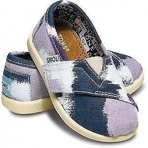 Tom/'s Pattern Tiny Purple White /& Navy Shoes Sizes 2