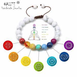 7 Chakra Round Beaded Natural Stone Bracelet Women Men Healing Balance Therapy