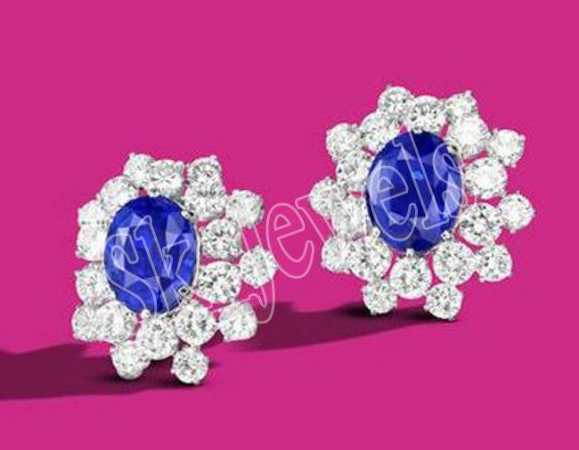1.20ct NATURAL DIAMOND blueeE SAPPHIRE  14K WHITE gold ANNIVERSARY STUD EARRING