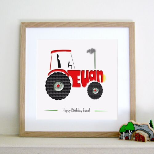 Personalised TRACTOR print name art picture wall gift farm